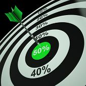 50Percent On Dartboard Shows Bonus Prices