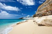 Sandstone cliffs at beautiful Cupecoy Beach on Sint Maarten/St Martin