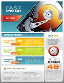 HD Hard Disk Sale Promotional Brochure, Detailed Realistic Vector