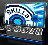 Skills On Laptop Shows Great Abilities