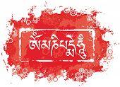 foto of mantra  - Grunge tibetan mantra  - JPG