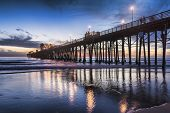 Coastal liquidity - Sunset in Oceanside, California. Oceanside is 40 miles North of San Diego.
