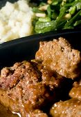 Meat Loaf Micro Wave With Mashed Potatoes String Beans