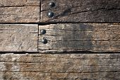 Grunge Old Wood Wall And Round Metal Nut