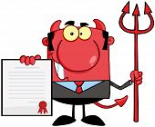 stock photo of trident  - Smiling Devil Boss With A Trident Holds Up A Contract - JPG