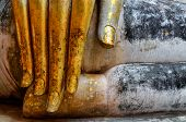 Beautiful Golden Hand Of Sitting Buddha In Wat Si Chum Temple In Sukhothai