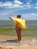 girl in bathing suit at the seacoast