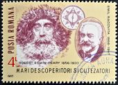 stamp printed in Romania shows Robert Edwin Peary and Emil Racovita