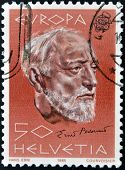 stamp printed in Switzerland shows Ernest Ansermet
