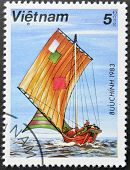 A stamp printed in Vietnam shows With patched sailing