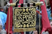 Banner with the letters SPQR (Senatvs Popvlvsqve Romanvs) in typical procession of Holy Week