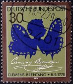 GERMANY- CIRCA 1993: stamp printed in Germany, shows Clemens Brentano, circa 1993.