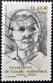 FRANCE - CIRCA 2002: A stamp printed in France shows Genevieve de Gaulle Anthonioz circa 2002