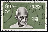 A stamp printed in Ireland shows Mahatma Gandhi