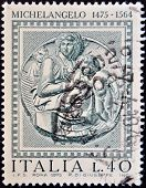 A stamp printed in Italy shows Madonna Pitti by Michelangelo
