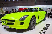 GENEVA - MARCH 8: The Mercedes-Benz SLS E-Cell with hybrid engine on the 81st International Motor Sh