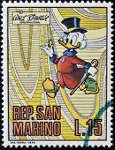 A stamp printed in San Marino shows Scrooge McDuck cartoon character of Walt Disney circa 1970