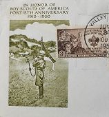 stamp printed in USA show Boy Scouts of America