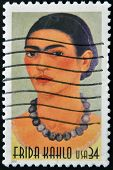 stamp printed in USA show great Mexican painter Frida Kahlo