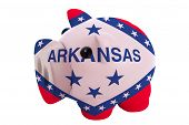 Piggy Rich Bank In Colors  Flag Of American State Of Arkansas    For Saving Money