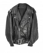 stock photo of overcoats  - Vintage Leather biker jacket isolated on white - JPG
