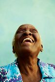 Portrait Of Funny Elderly Black Woman Smiling And Laughing
