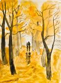 Couple On Autumn Alley, Painting