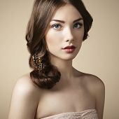 picture of vintage jewelry  - Portrait of young beautiful girl - JPG