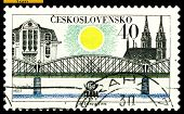 Vintage  Postage Stamp. Railroad Bridge. Prague.