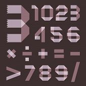 stock photo of arabic numerals  - Font from lilac scotch tape  - JPG