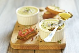 stock photo of giblets  - Homemade chicken liver pate with mushrooms and thyme  - JPG