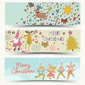 Three awesome New Year and Christmas cards in vector. Cute elves, Santa, Deer in holiday cards in cartoon style