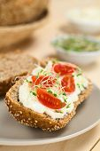 pic of alfalfa  - Wholewheat bread spread with cream cheese with cherry tomato and alfalfa sprouts on top served on plate (Selective Focus Focus on the tomato in the front)