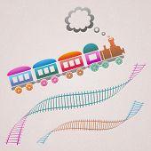 foto of loco  - Cute colored retro card with train and track - JPG