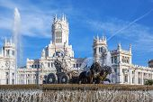 image of neo-classic  - Cibeles Palace and fountain at the Plaza de Cibeles in Madrid Spain - JPG