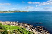 View from St Michael's Mount of Marazion Cornwall England towards Lizard Point and Mullion