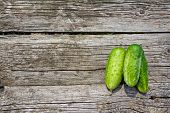 Cucumbers On The Old Wooden Table