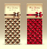 Banners or gift card with bow geometric pattern red gold
