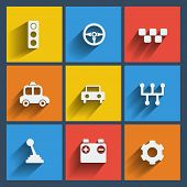 Set of 9 cars web and mobile icons. Vector.