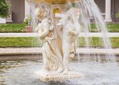 Cherub Fountain With Blurred Water Flowing