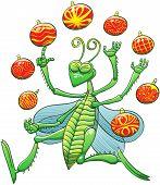 Green grasshopper juggling Christmas balls