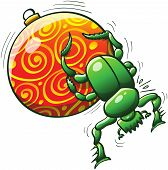 Christmas beetle pushing a Christmas ball