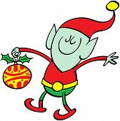 Green elf bringing a Xmas bauble
