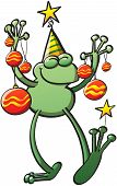 Cool green frog holding Christmas baubles and smiling