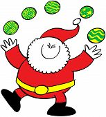 Cool Santa Claus juggling Christmas baubles
