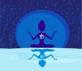 Yoga With Ohm Symbol Over Moon