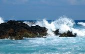 Huge waves crashing on Ly Son island, Vietnam