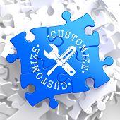 Customize Concept on Blue Puzzle.