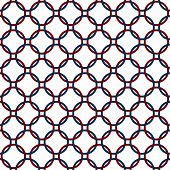 Blue, Red And White Interlaced Circles Textured Fabric Background