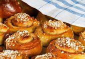 Freshly baked sweet bread buns